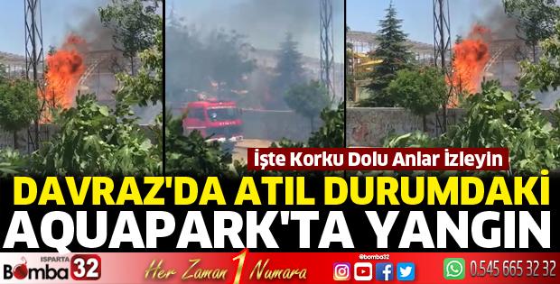 Davraz'da atıl durumdaki aquaparkta yangın