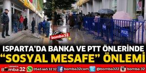 BANKA VE PTT ŞUBELERİ ÖNÜNDE SOSYAL MESAFE ÖNLEMİ