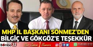 MHP İl Başkanı Sönmez'den Bilgiç ve Gökgöz'e teşekkür